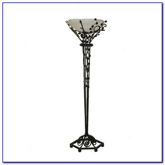 Wrought Iron Floor Lamp With Leaf Accents