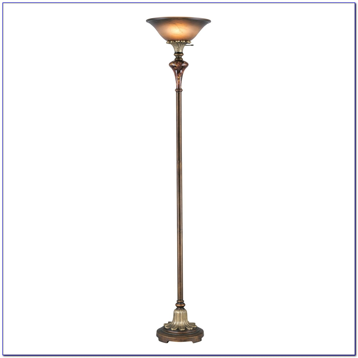 Antique Brass Torchiere Floor Lamp