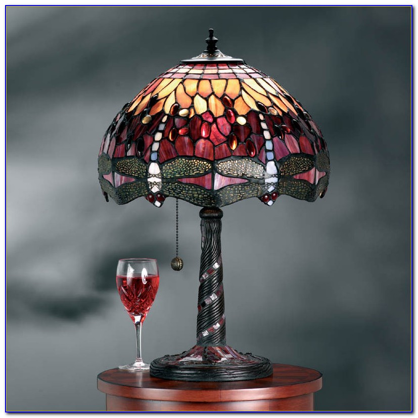 Antique Tiffany Dragonfly Floor Lamp