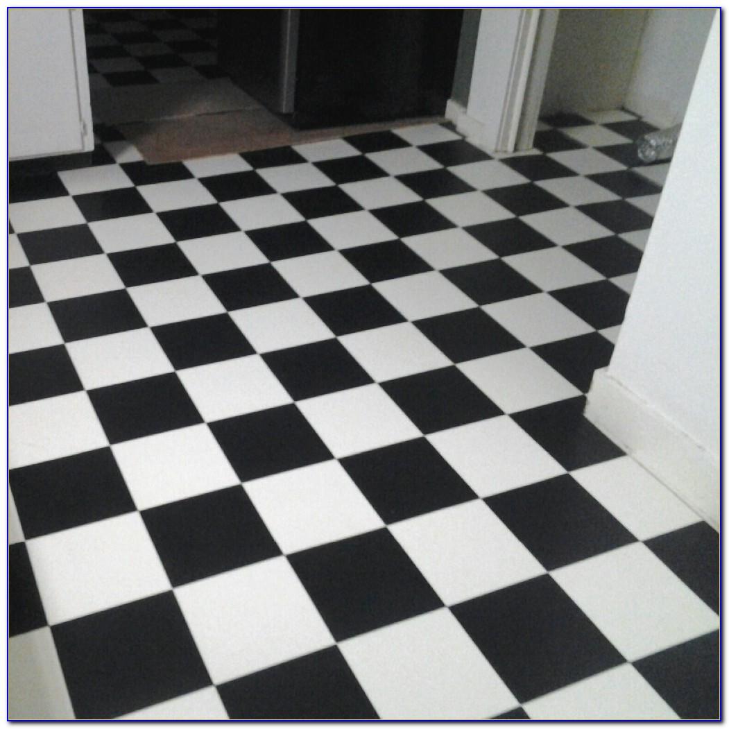 Black And White Checkered Vinyl Floor Tiles