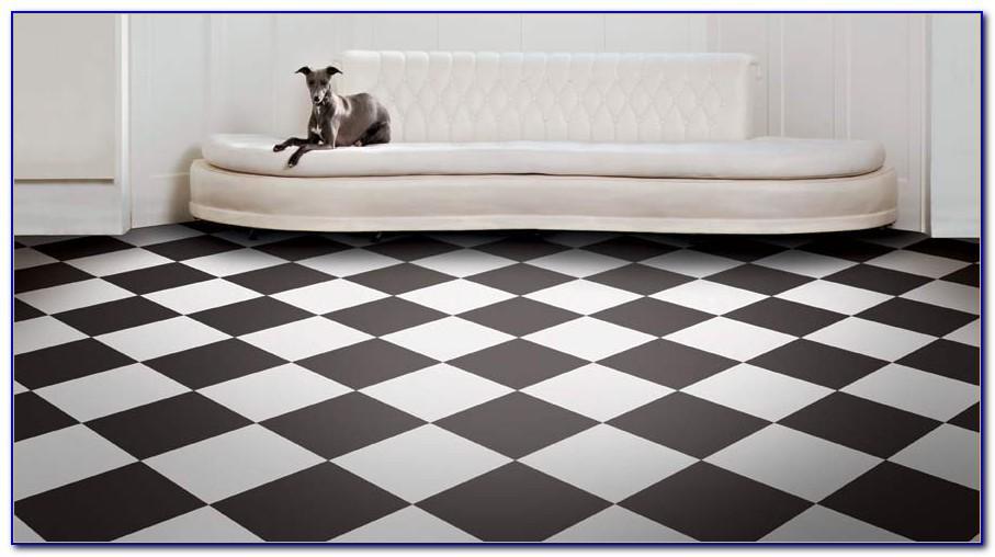 Black And White Checkered Vinyl Flooring Sheet