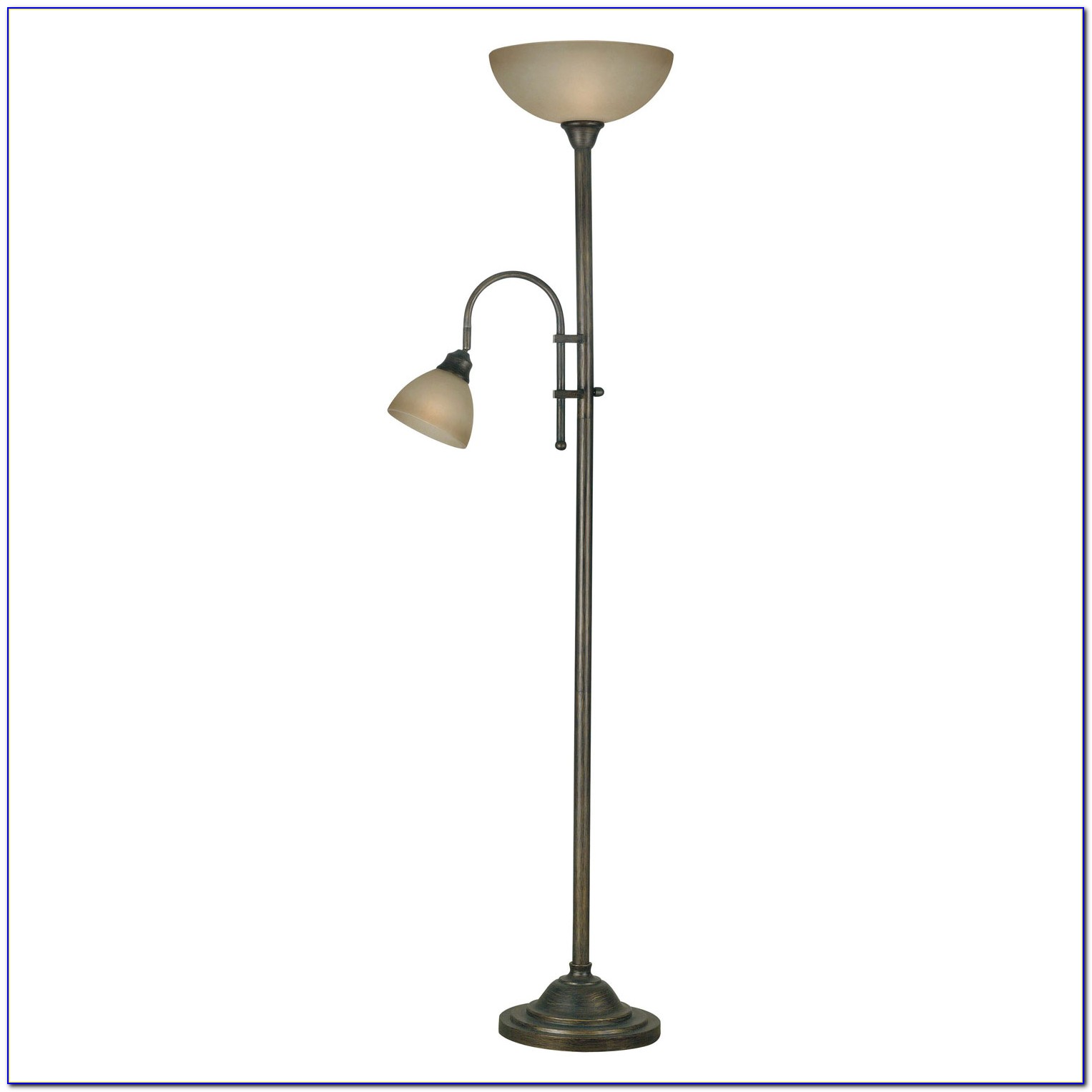 Bronze Torchiere Floor Lamp With Reading Light