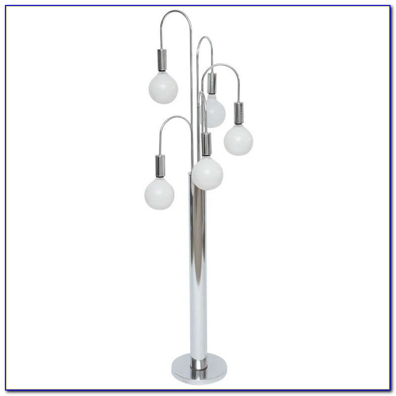 Contemporary Multi Shade Chrome Arm Floor Lamp
