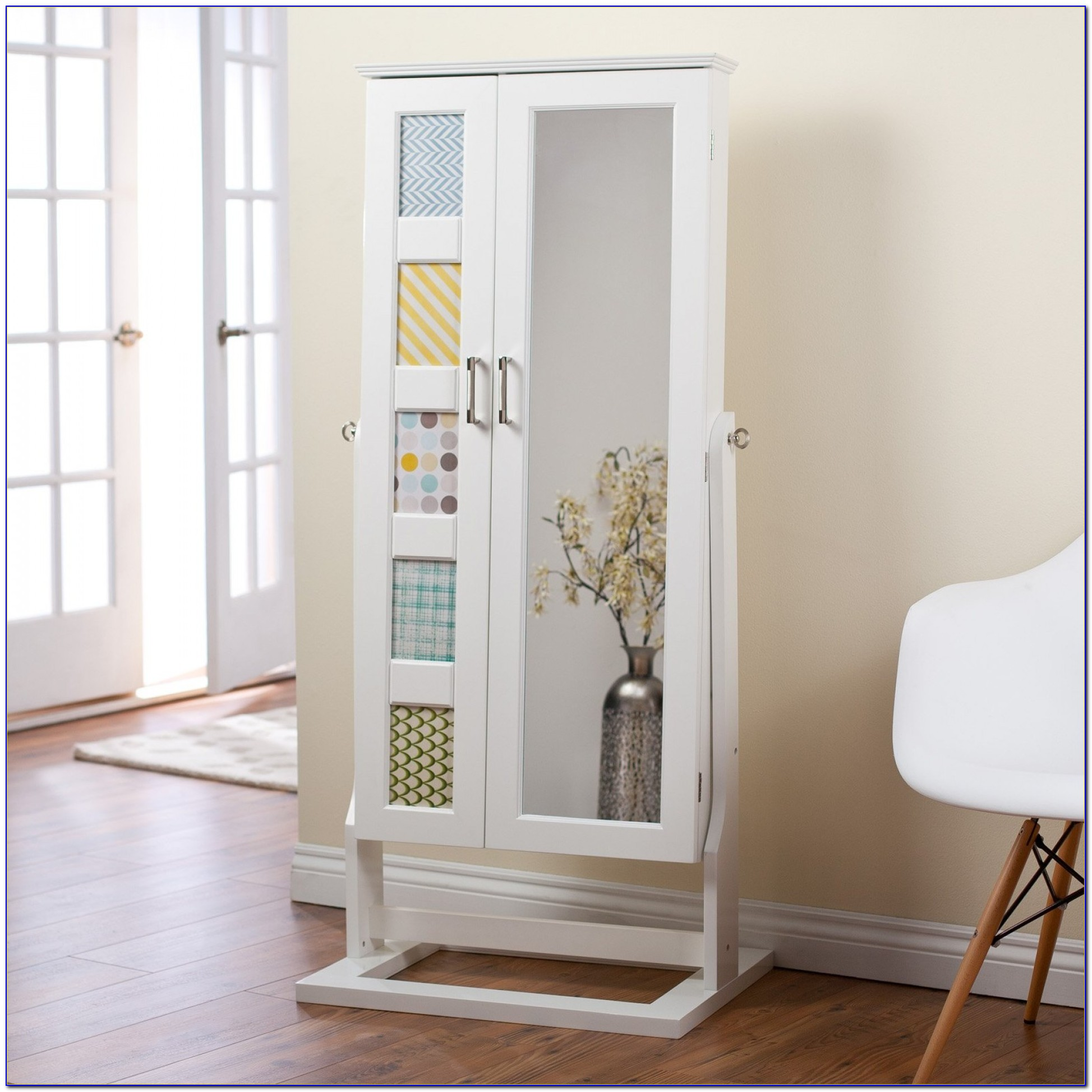 Floor Standing Bedroom Mirror & Jewellery Cabinet