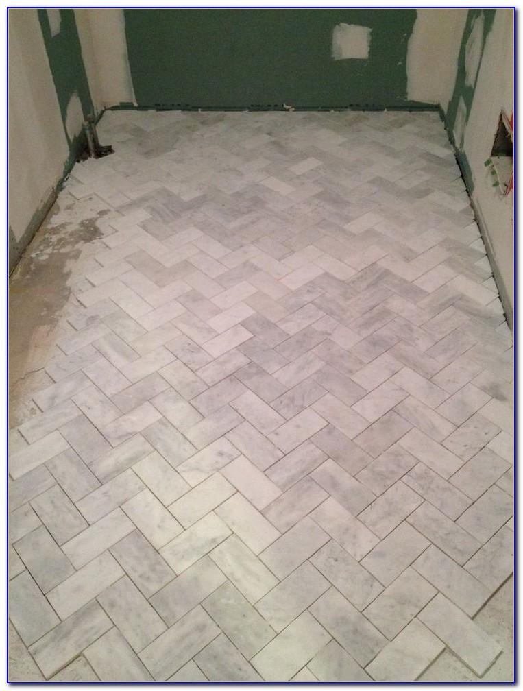 Laying Floor Tile In Herringbone Pattern