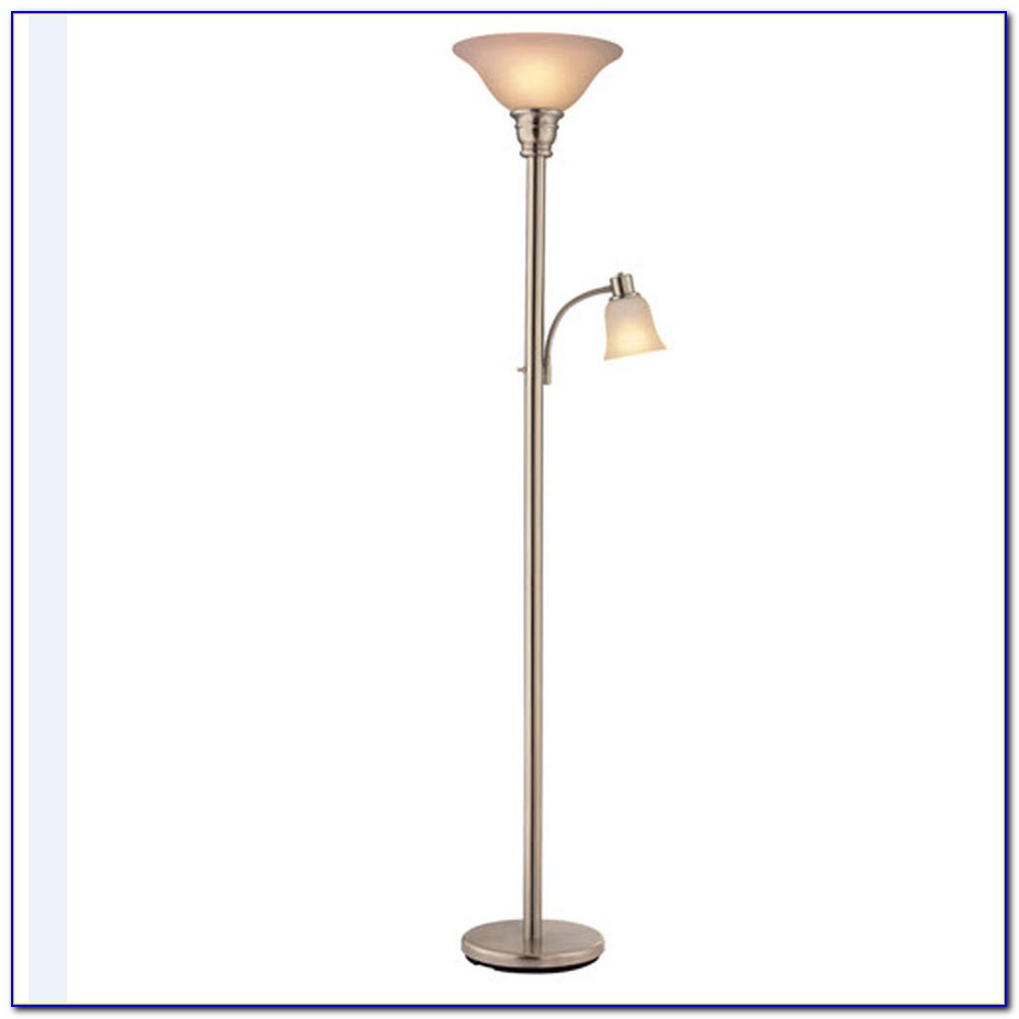 Portfolio Brushed Nickel Torchiere Floor Lamp With Reading Light