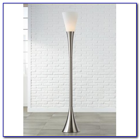 Possini Euro Modern Brushed Nickel Torchiere Floor Lamp
