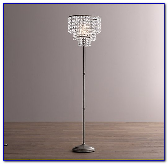 Silver Floor Lamp With Crystals