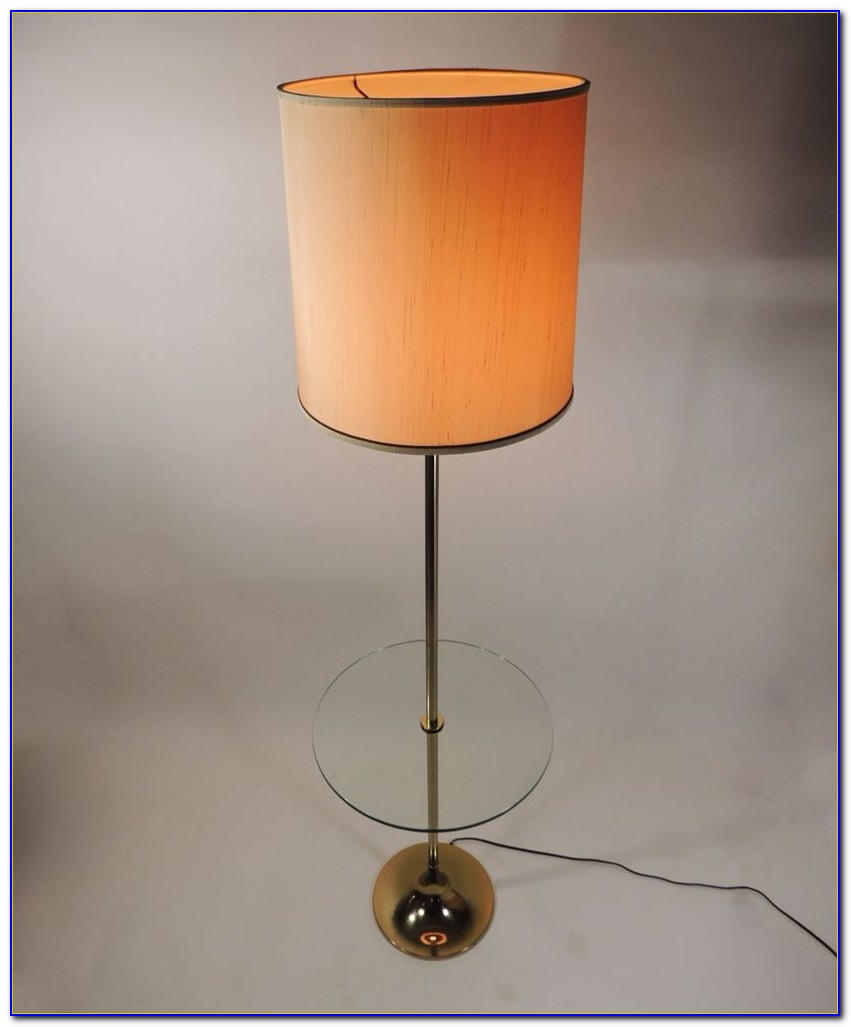 Vintage Floor Lamp With Attached Table