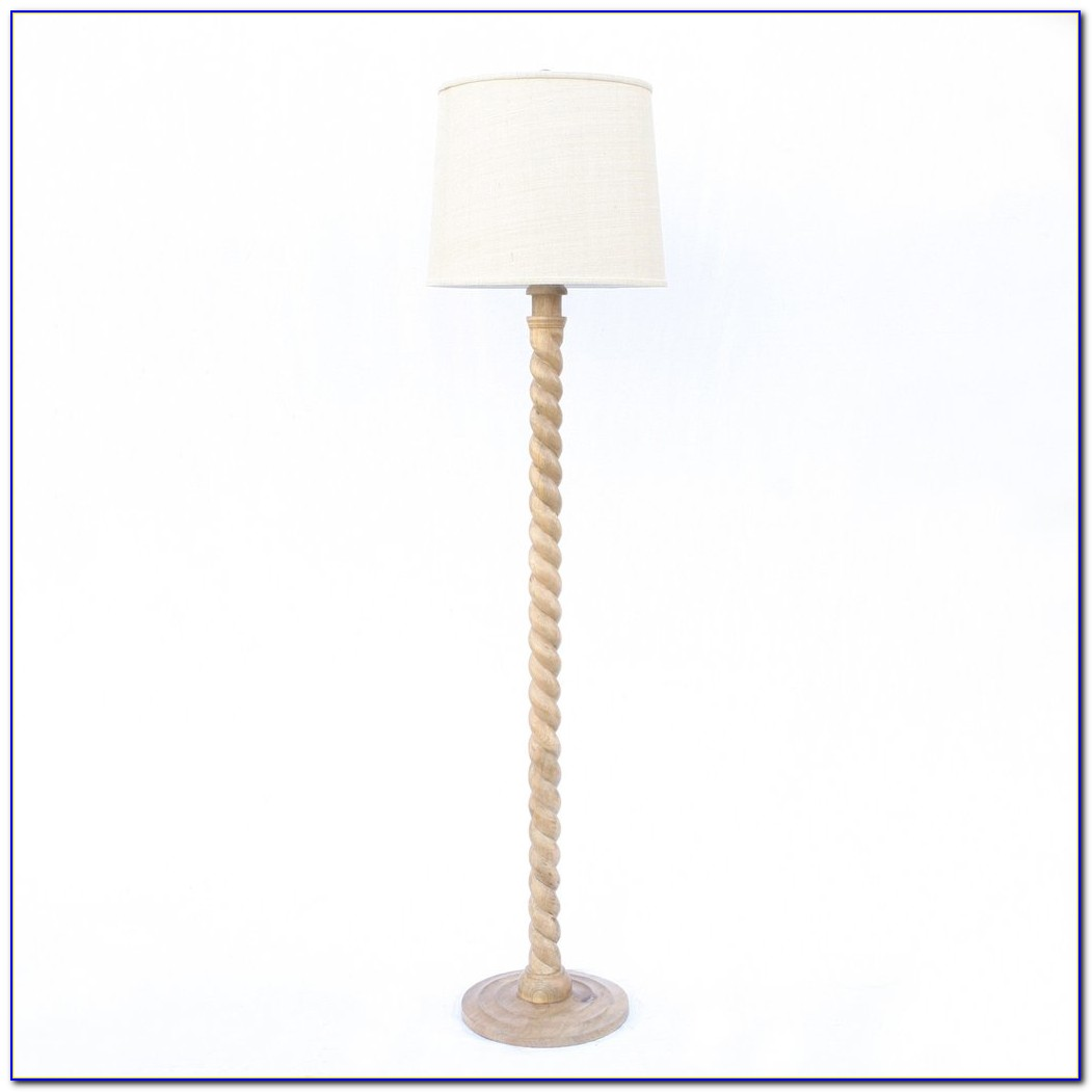 Wooden Barley Twist Floor Lamp