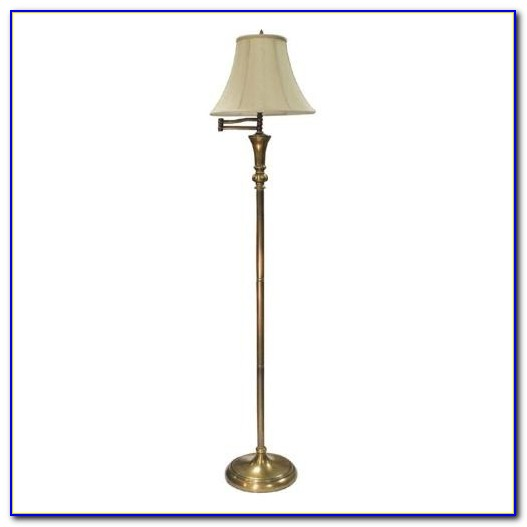 Antique Brass Swing Arm Floor Lamp