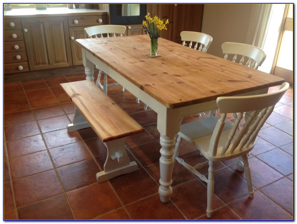 Farmhouse Dining Table Set With Bench