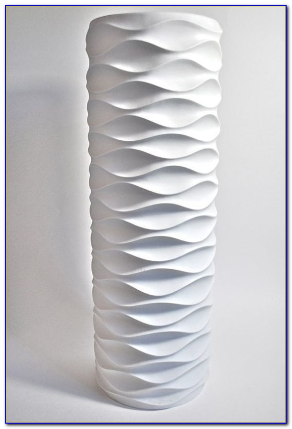 Large White Ceramic Floor Vase