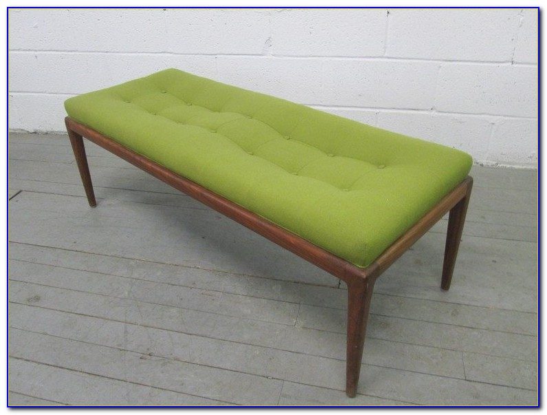 Mid Century Modern Bench With Back