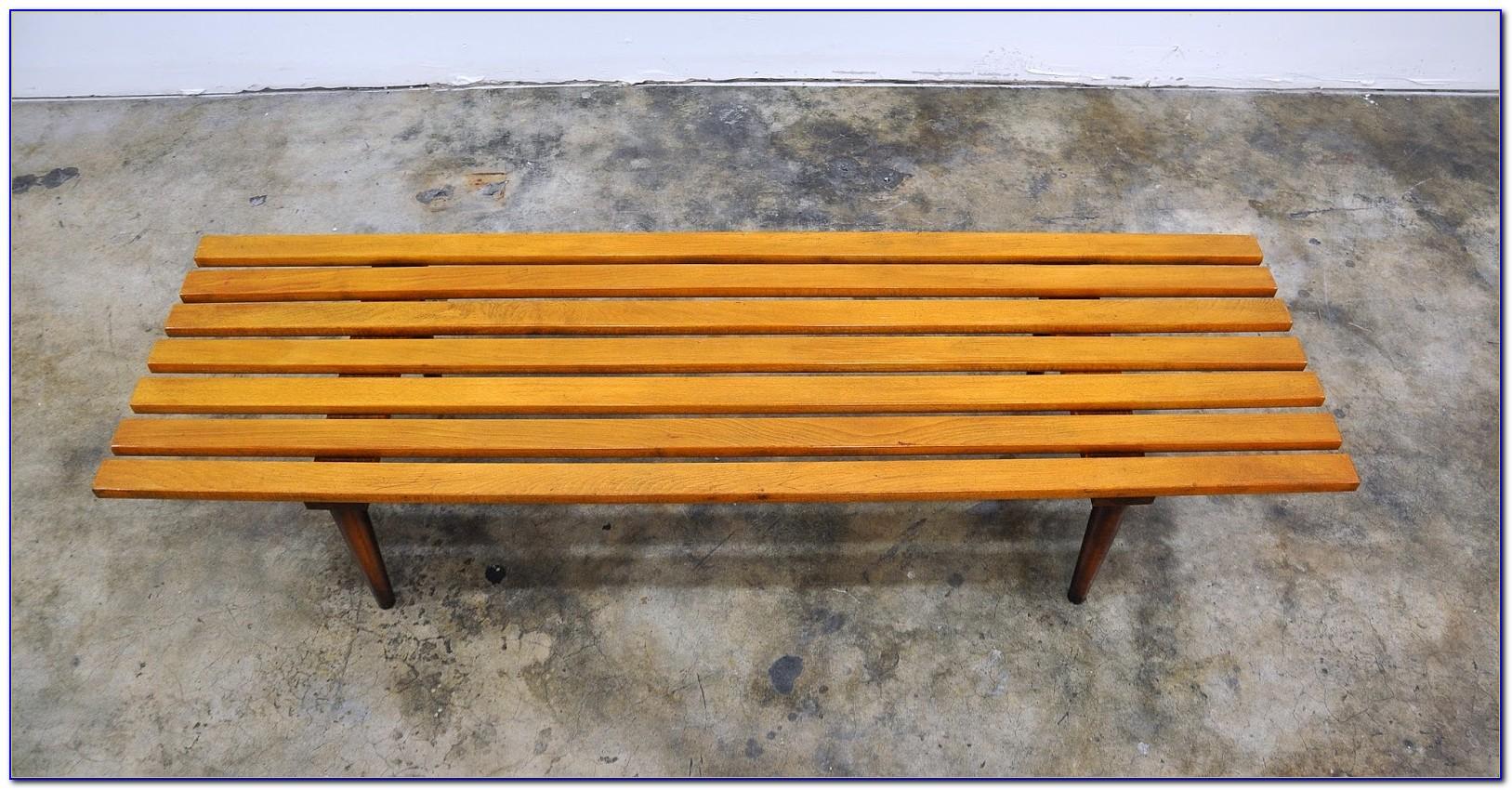 Mid Century Teak Slat Bench