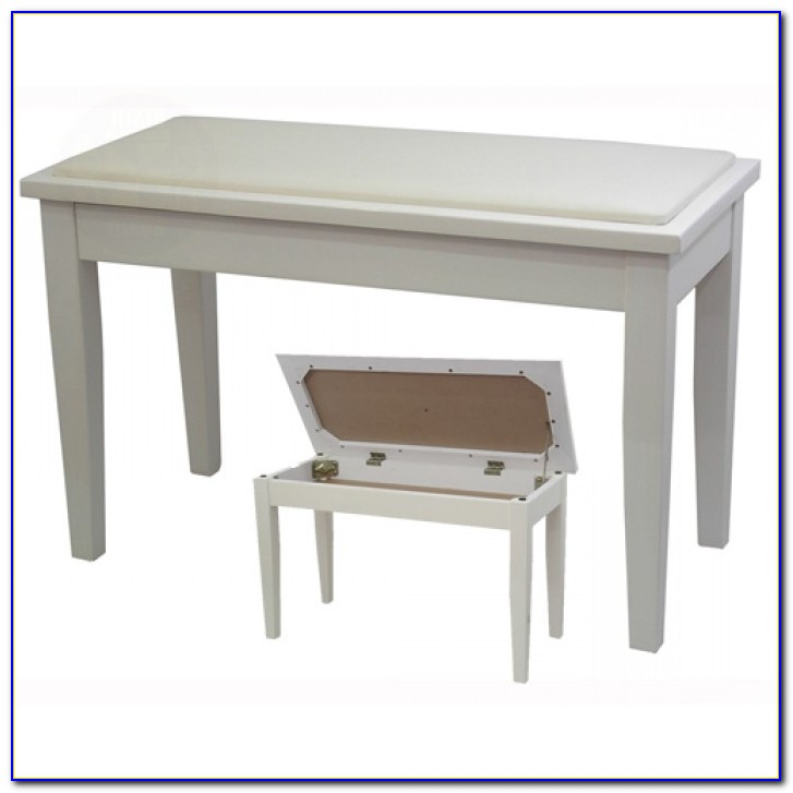 Piano Bench With Storage White