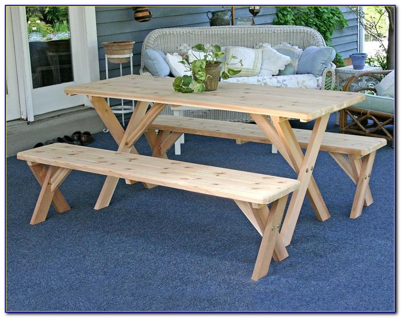 Picnic Table With Benches Attached