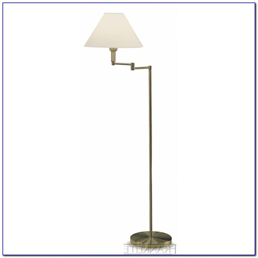 Polished Brass Swing Arm Floor Lamp