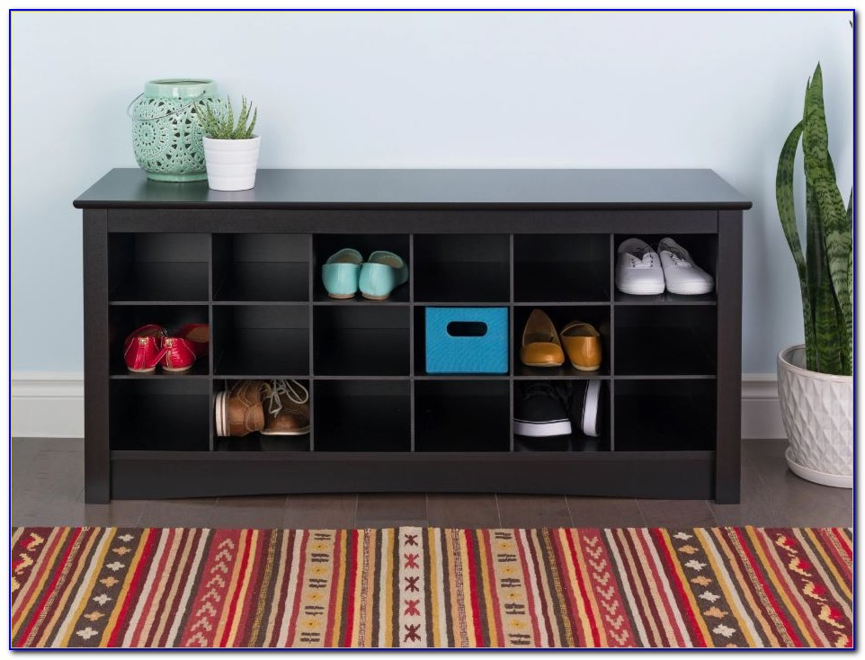 Shoe Storage Cubbie Bench & Entryway Shelf In Espresso