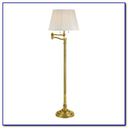 Vintage Brass Swing Arm Floor Lamp