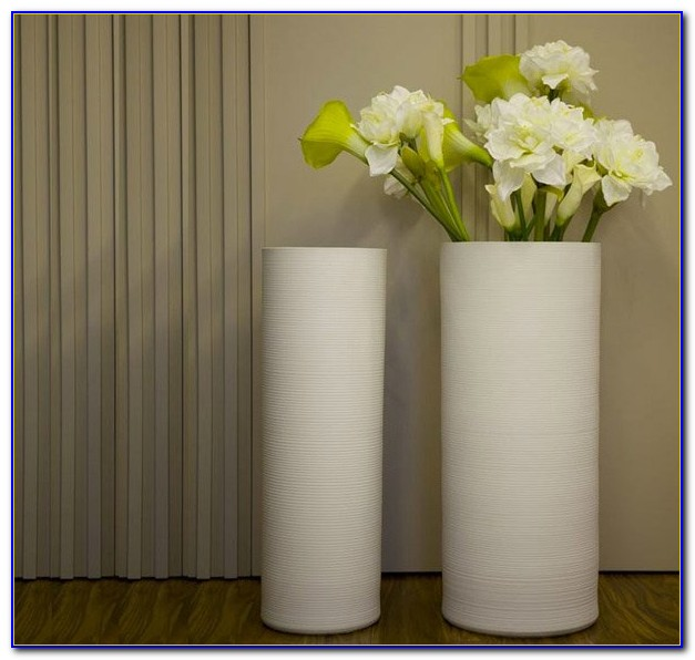 White Ceramic Floor Vase