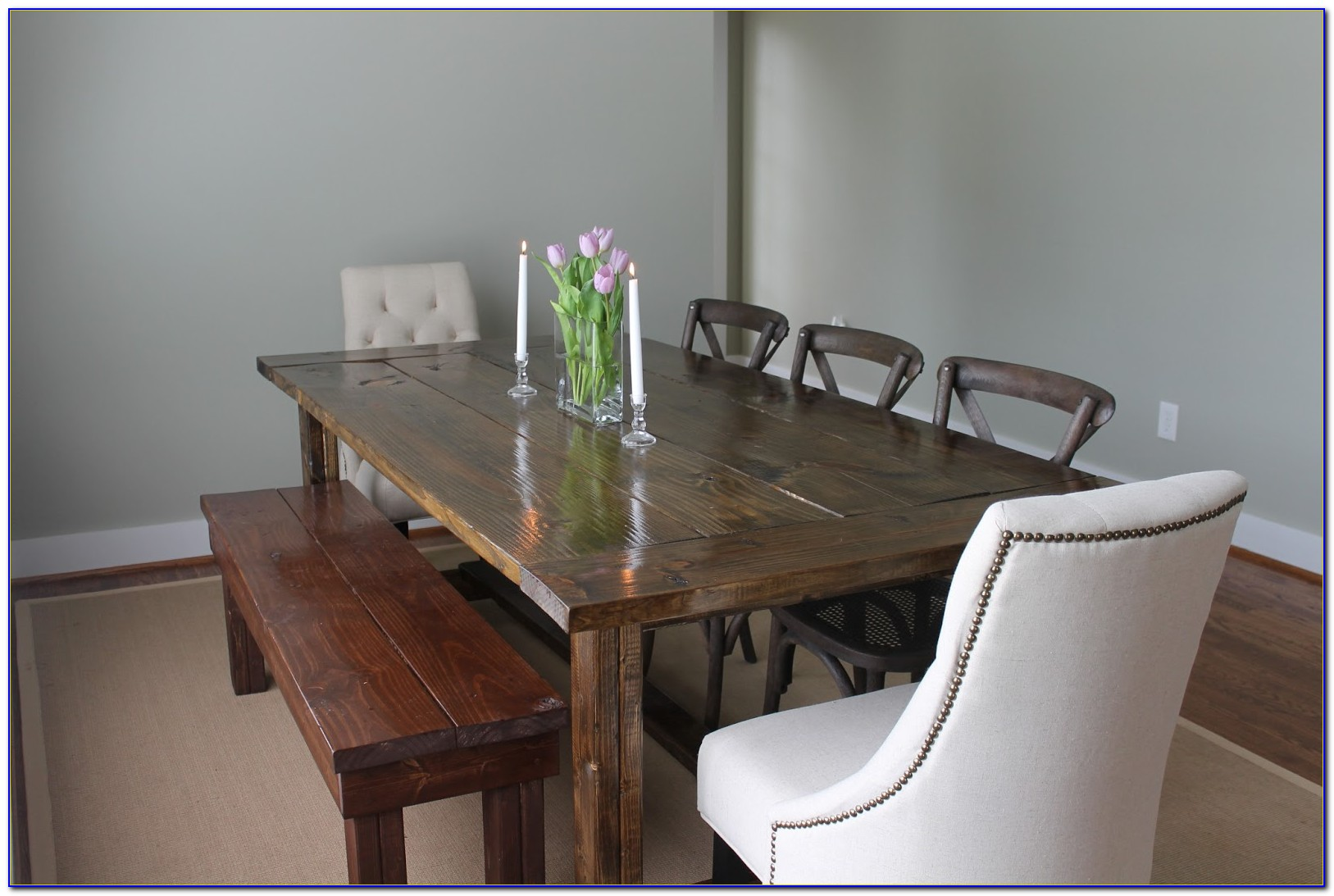 Wood Dining Table With Bench And Chairs