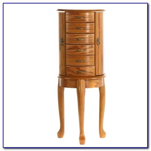 Wooden Floor Standing Mirror Jewelry Armoire