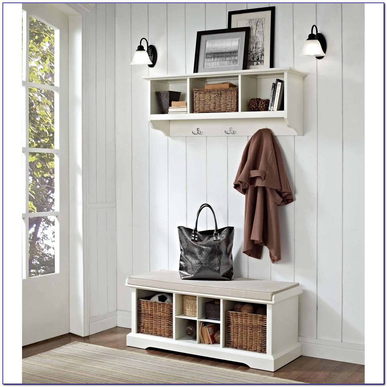 2 Piece Entryway Bench And Shelf Set