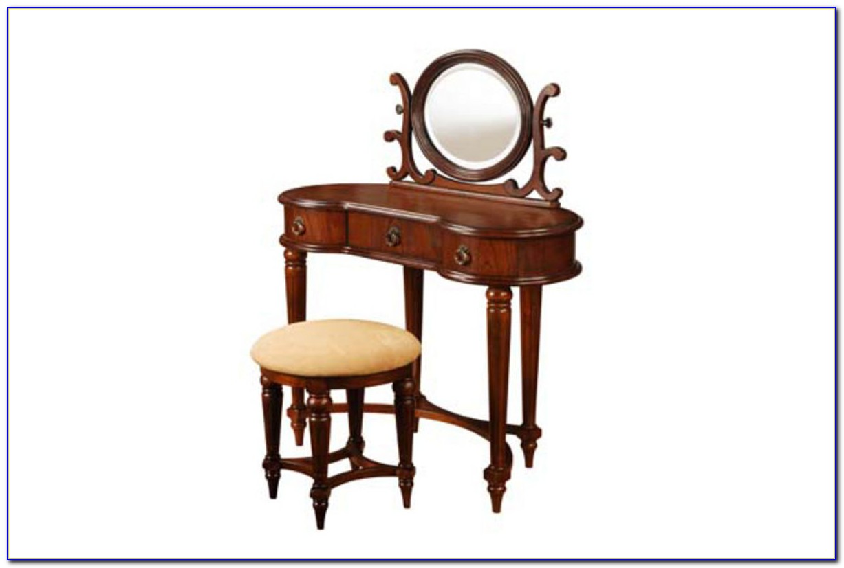 Antique Vanity With Mirror And Bench