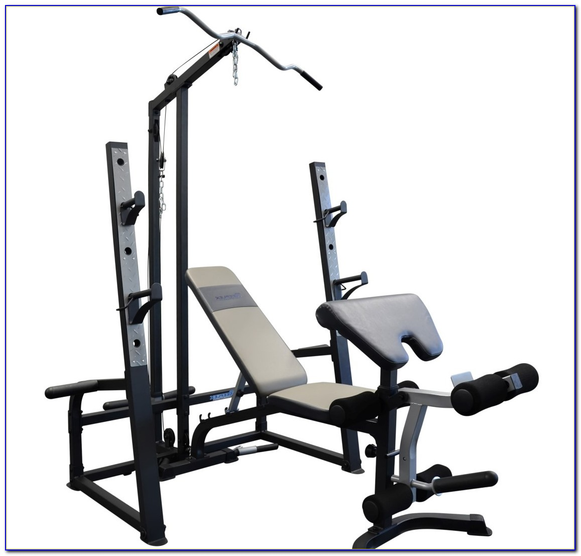 Bench Press And Squat Rack With Weights