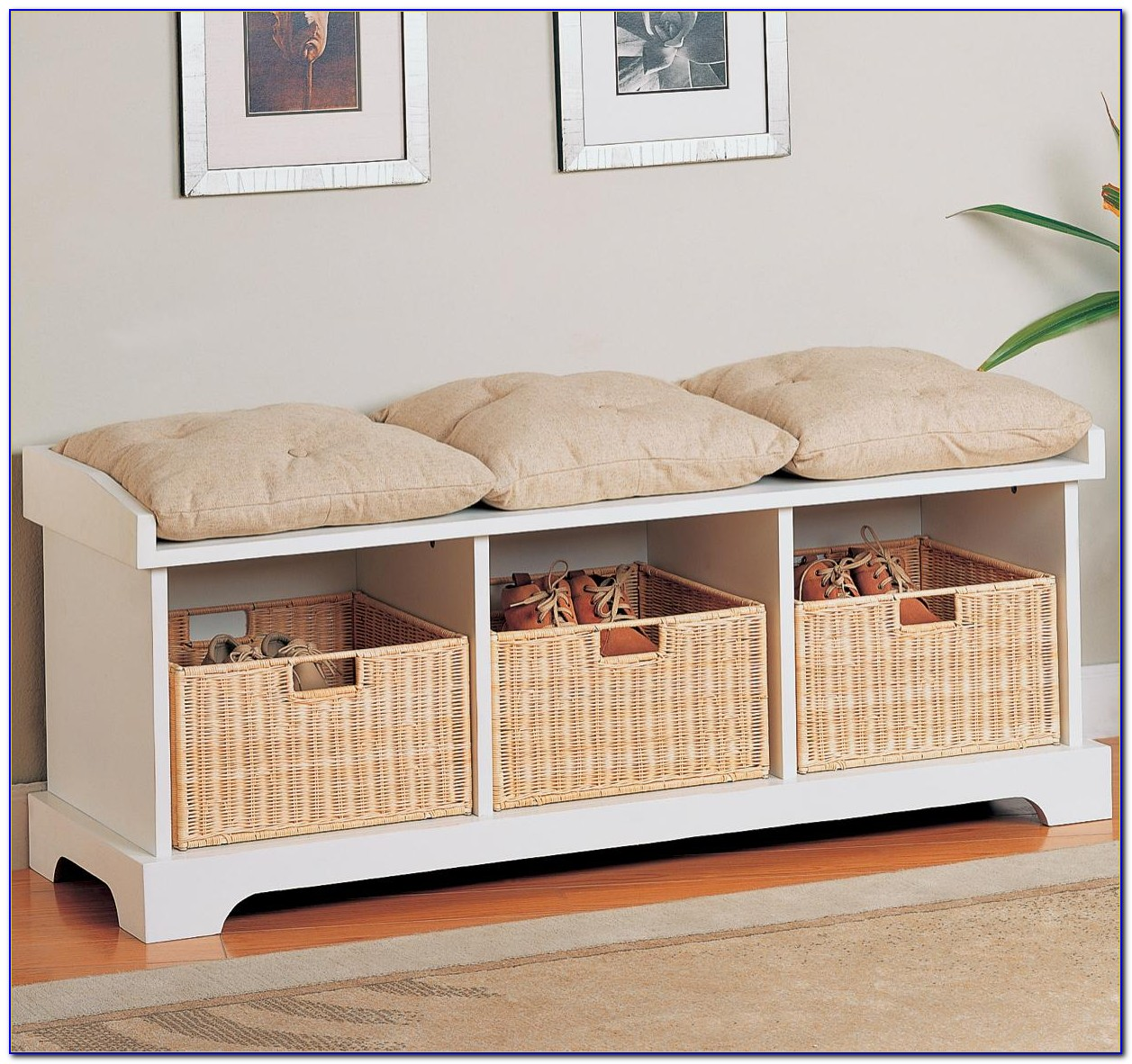 Bench With Storage Baskets White
