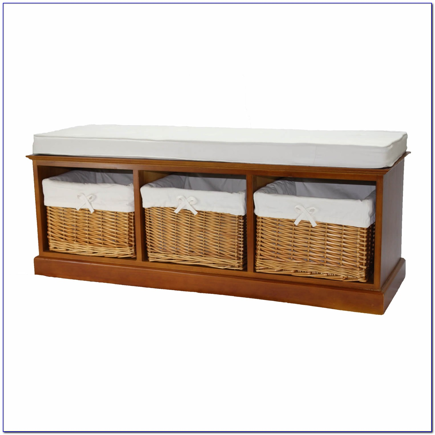 Bench With Wicker Storage Baskets