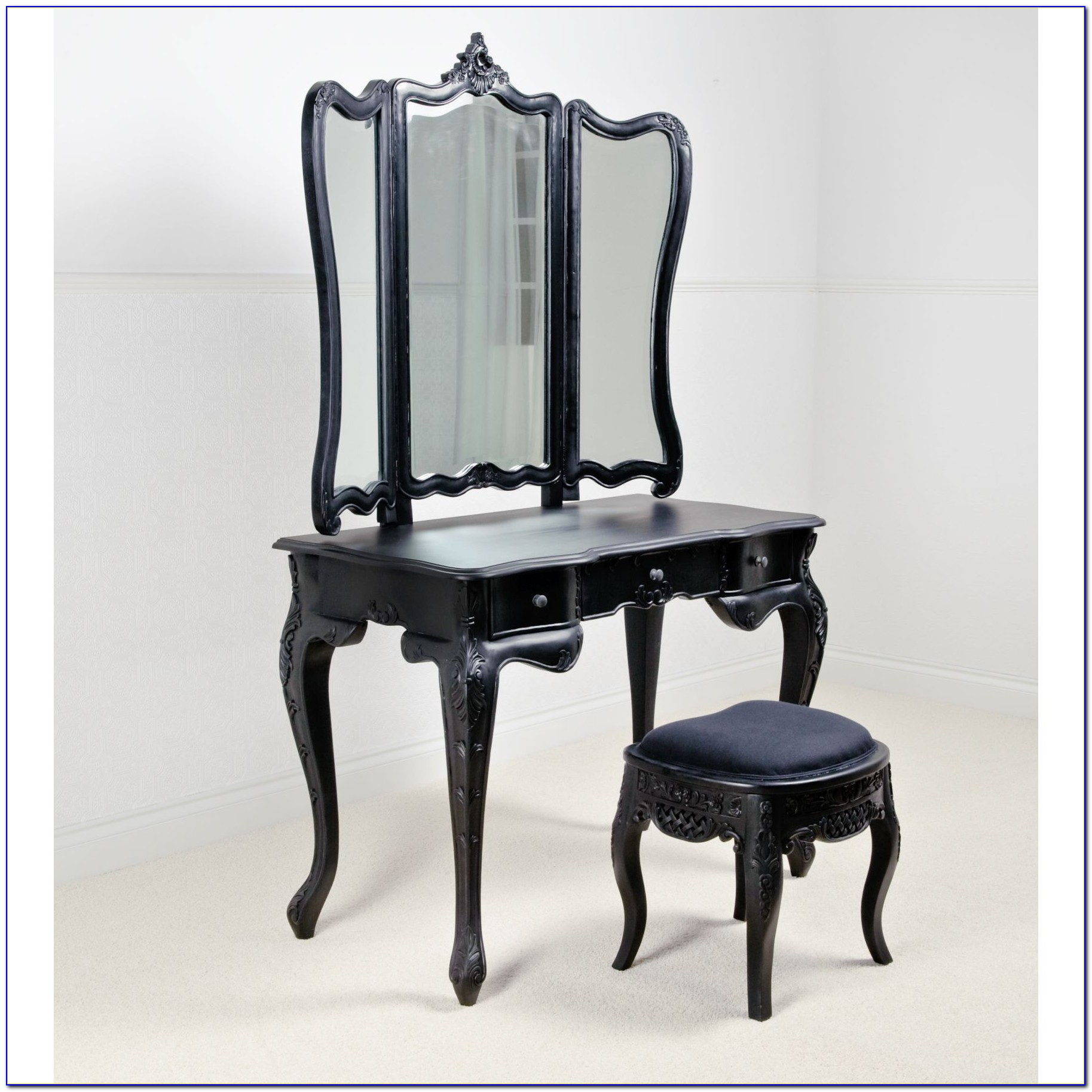 Black Antique Wood Makeup Vanity Table With Mirror And Bench