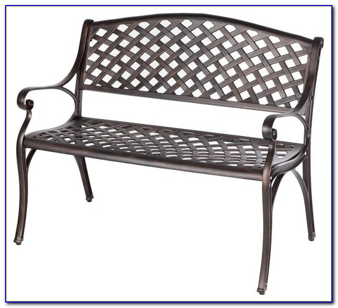 Black Cast Aluminum Patio Bench