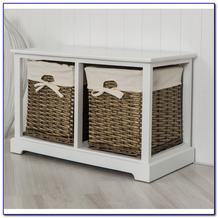 Btm White Wicker Storage Bench
