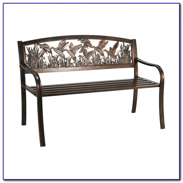 Cast Iron Powder Coated Outdoor Patio Bench Ivy Design Backrest