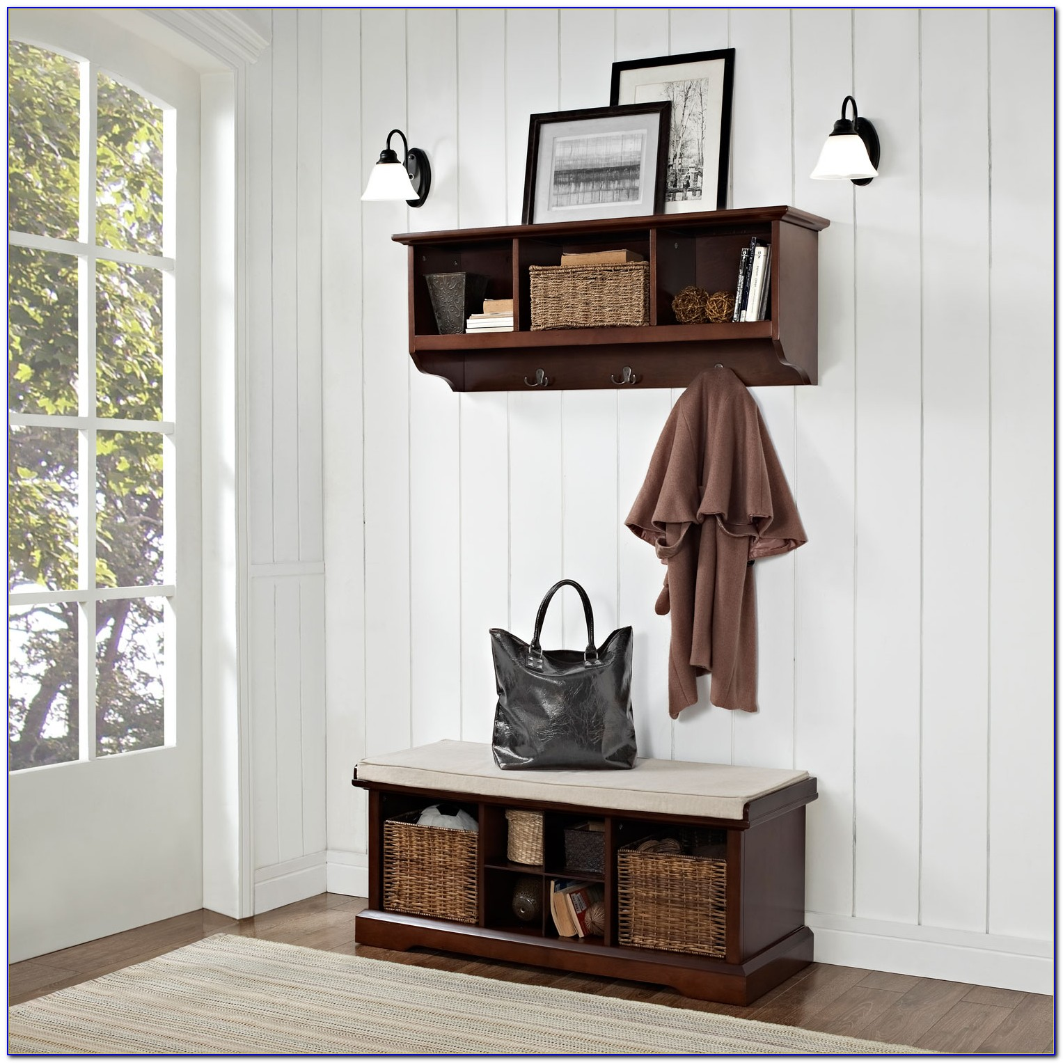 Entry Bench And Shelf Set