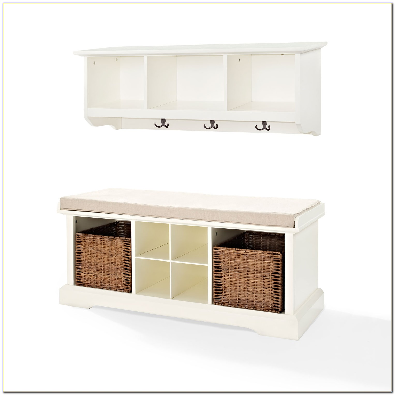 Entryway Bench And Shelf Set White