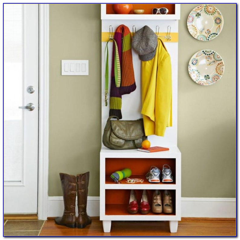 Entryway Bench Seat With Hat Coat Rack Storage Shoe Shelf