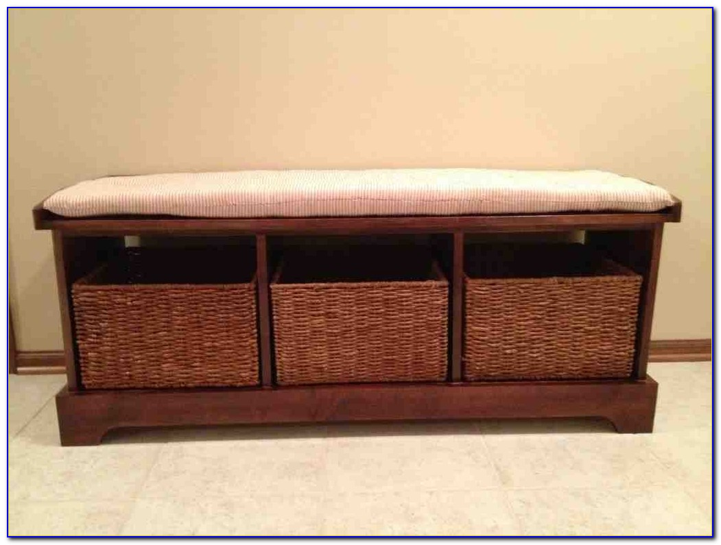 Entryway Bench With Basket Storage