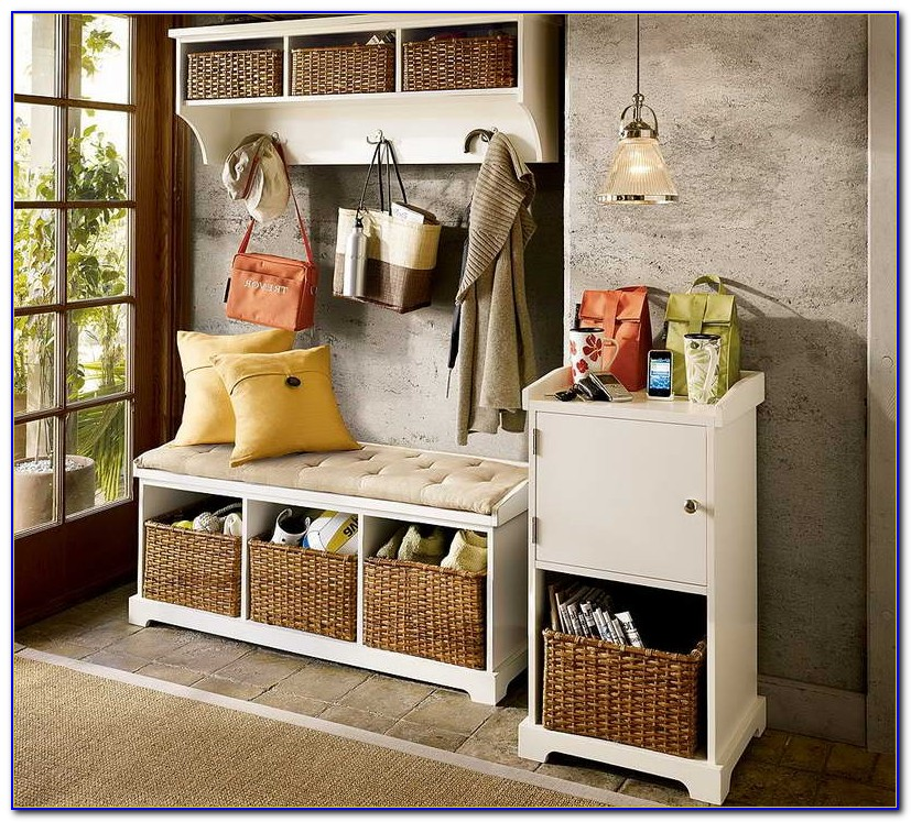Entryway Bench With Shelves