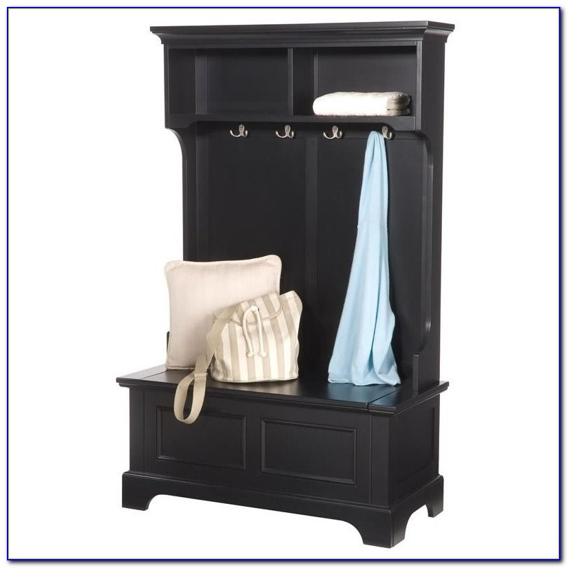 Entryway Hall Tree Coat Hanger With Storage Bench
