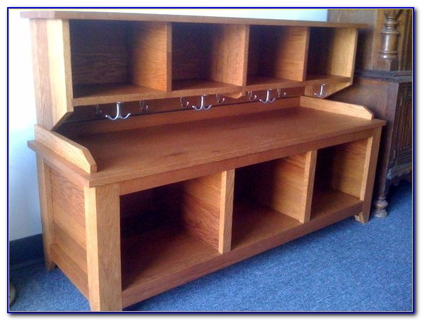 Entryway Storage Bench With Shelf