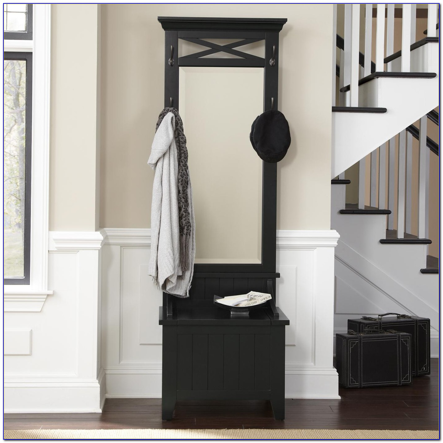 Espresso Entryway Hall Tree With Mirror Coat Hooks And Storage Bench