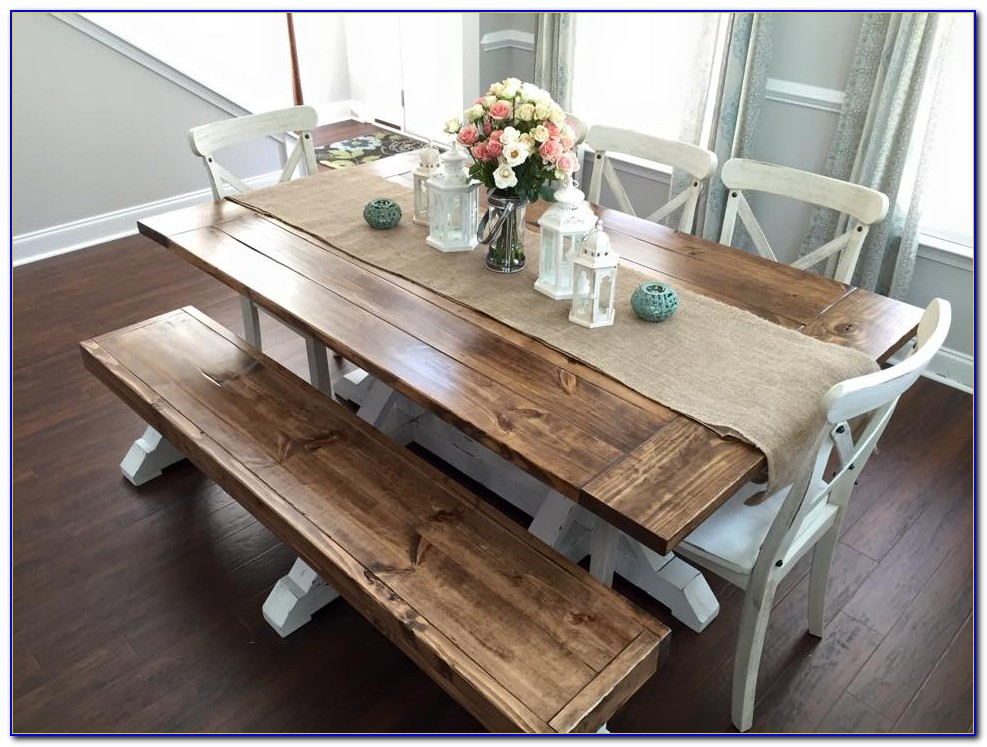 Farmhouse Style Dining Table With Bench