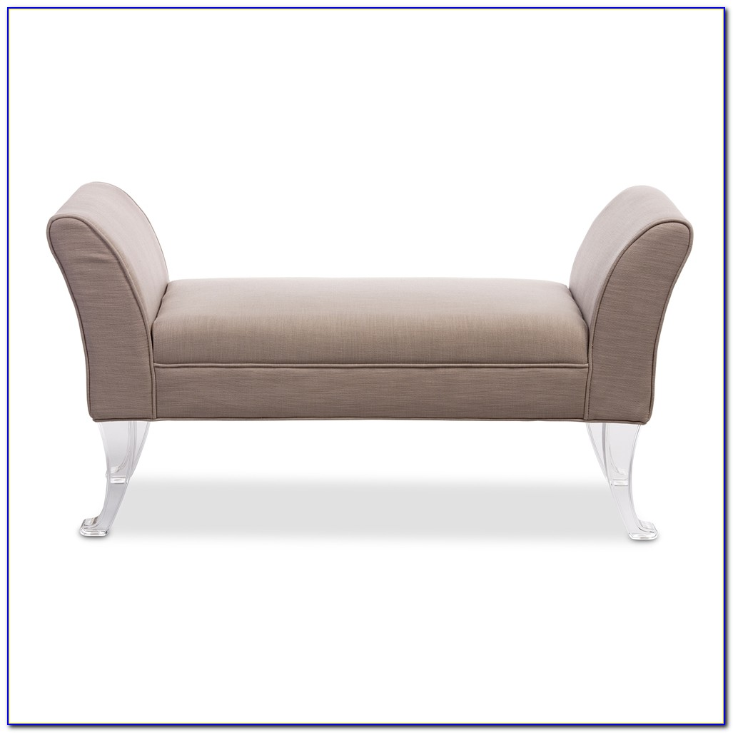 Grey Bench With Lucite Legs