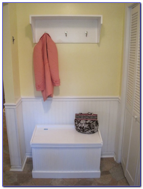 Metal Entryway Bench With Wood Seat Shoe & Coat Rack Storage Hooks