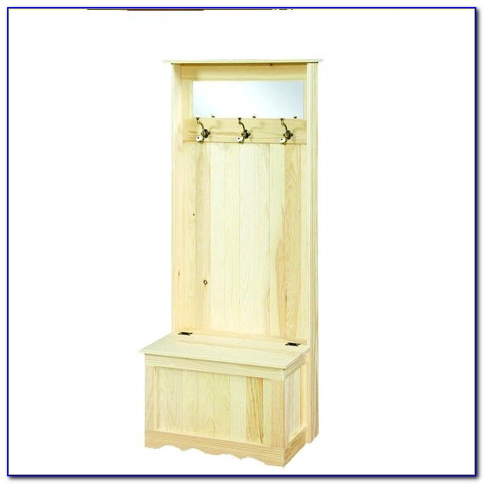 Mini Hall Tree Storage Bench White