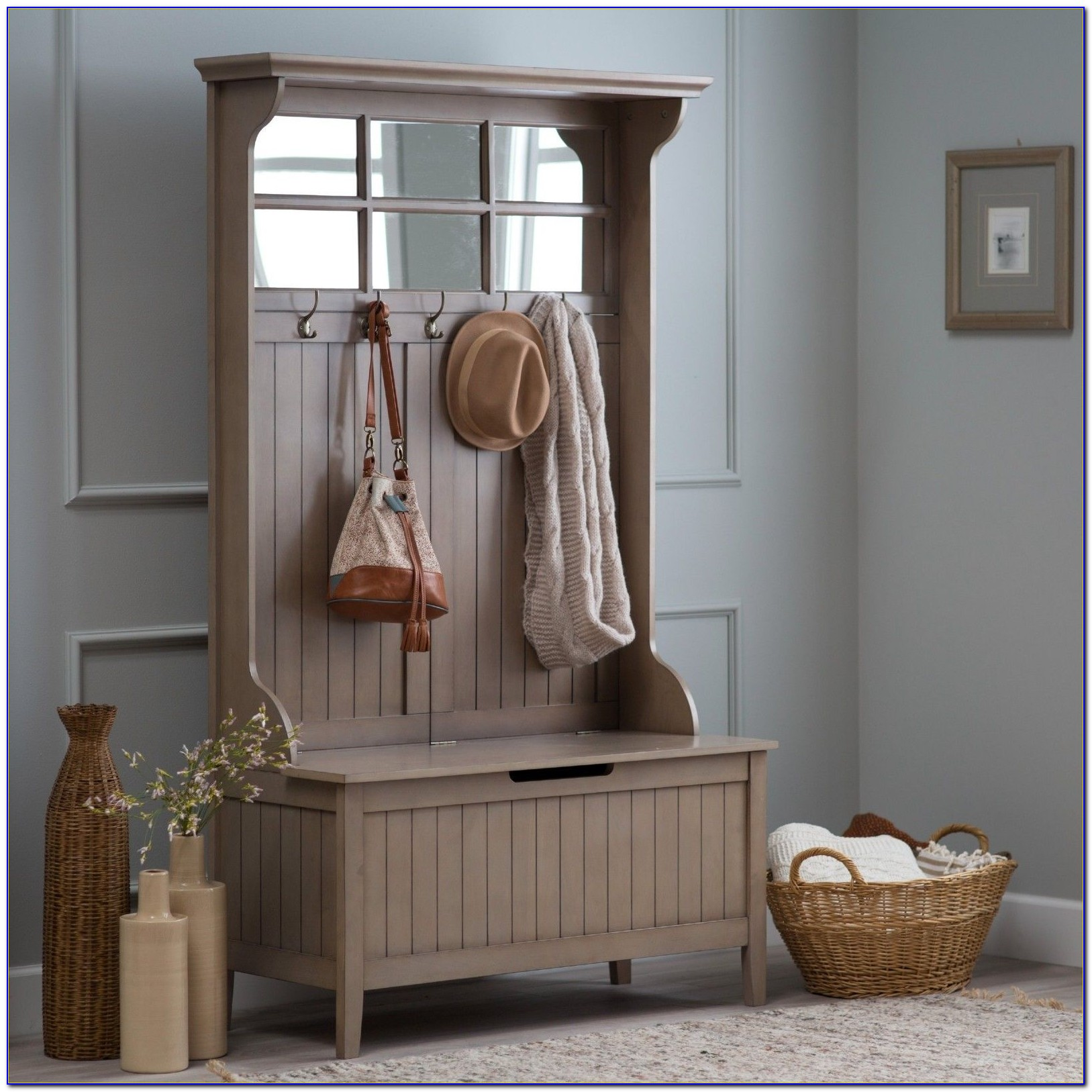 Mini Hall Tree With Storage Bench And Mirror