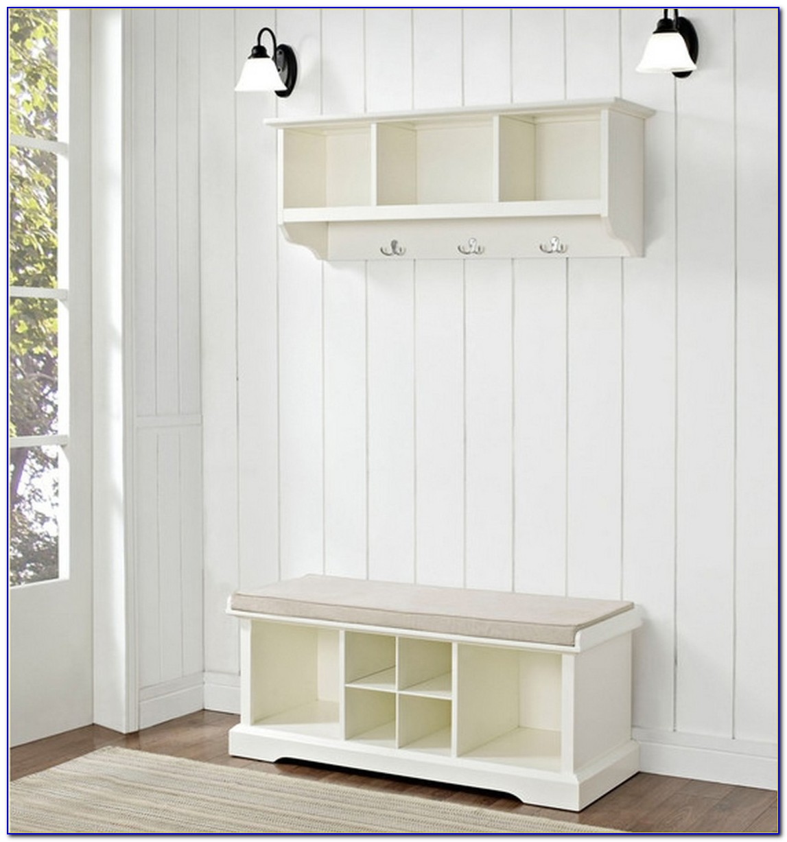 Nantucket White Hall Tree With Storage Bench